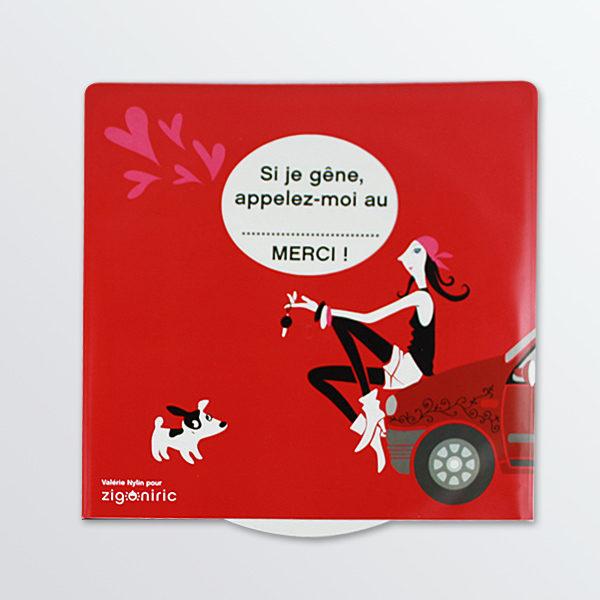 Disque de stationnement à message Lady Dog-0