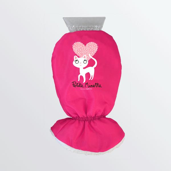 Gratte-givre à gant fuchsia avec chat